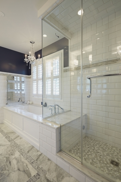 Alluring Heated Soaking Tub Glass Enclosed Shower With Bench Connected To The Platform Of A