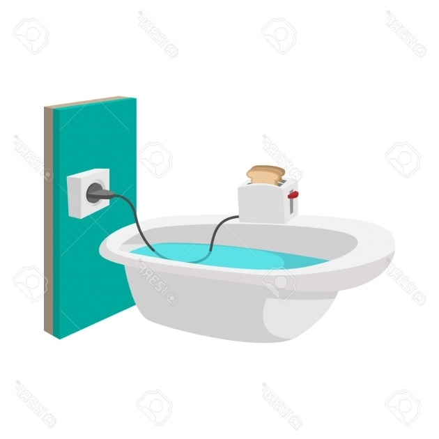 Amazing Toaster In Bathtub Toaster On The Edge Of A Bathtub Icon In Cartoon Style On A White