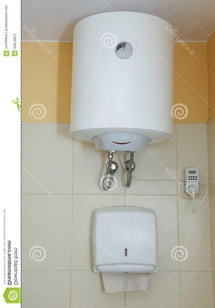 Beautiful Bathtub Water Heater Paper Towel Dispenser And Electric Water Heater Stock Photo