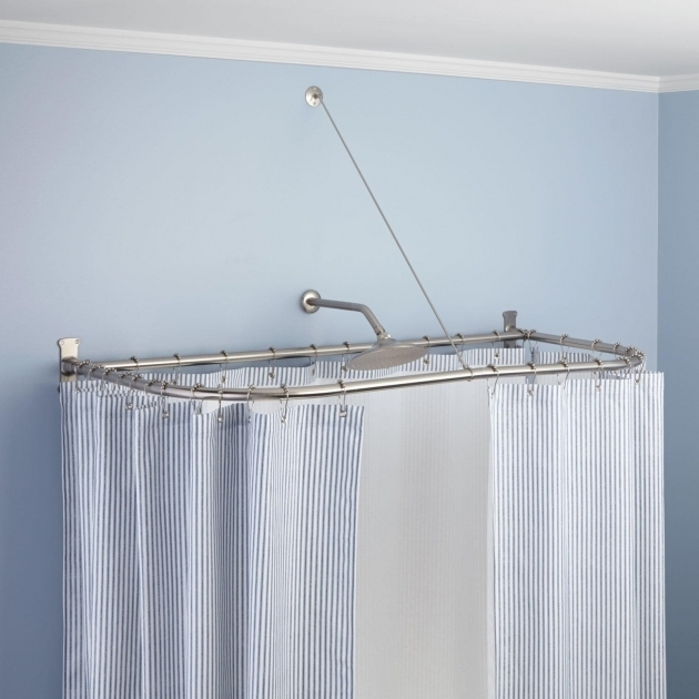 Fantastic Shower Curtain Rod For Clawfoot Tub D Shaped Solid Brass Shower Curtain Rod Bathroom