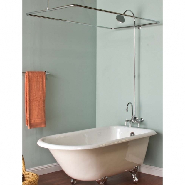 Gorgeous Oval Shower Curtain Rod For Clawfoot Tub Tub Curtain Ringsenclosures
