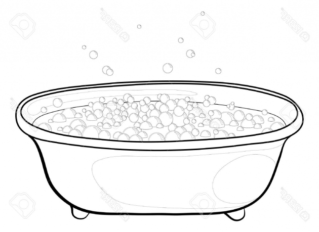 Incredible How To Draw A Bathtub Old Bathtub With Bubbles Of Soap Suds Contours Vector Royalty