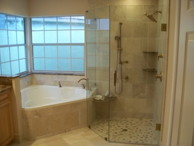Marvelous Whirlpool Tub Shower Combination Corner Tub W Larger Walk In Shower Do Not Like The Wall Next To