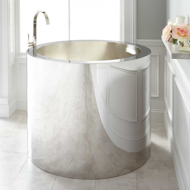Picture of Stainless Steel Soaking Tub 43 Simone Polished Stainless Steel Soaking Tub Brushed Interior