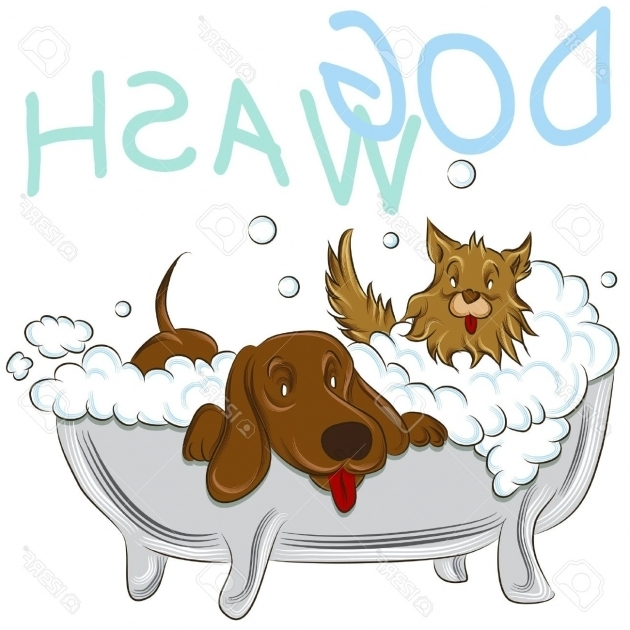Fantastic Dog In A Bathtub An Image Of A Two Clean Dogs In A Bathtub Royalty Free Cliparts