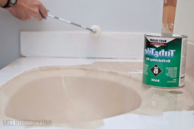 Fascinating Spray Paint Bathtub Remodelaholic Painted Bathroom Sink And Countertop Makeover