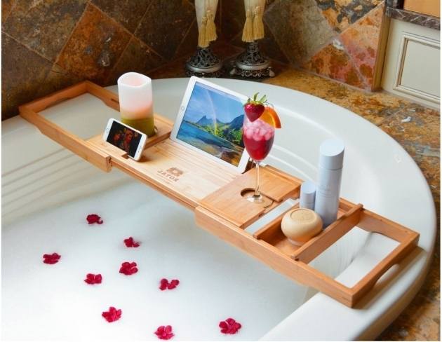 Gorgeous Biggest Bathtub Luxury Bathtub Caddy Natural Bamboo Bath Tub Tray With 1 Free