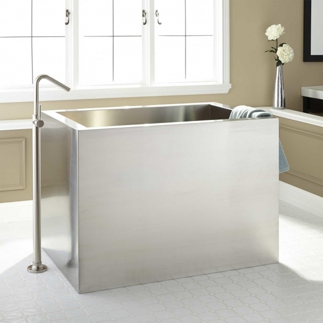 Incredible Square Soaking Tub 48 Amery Brushed Stainless Steel Soaking Tub Bathroom