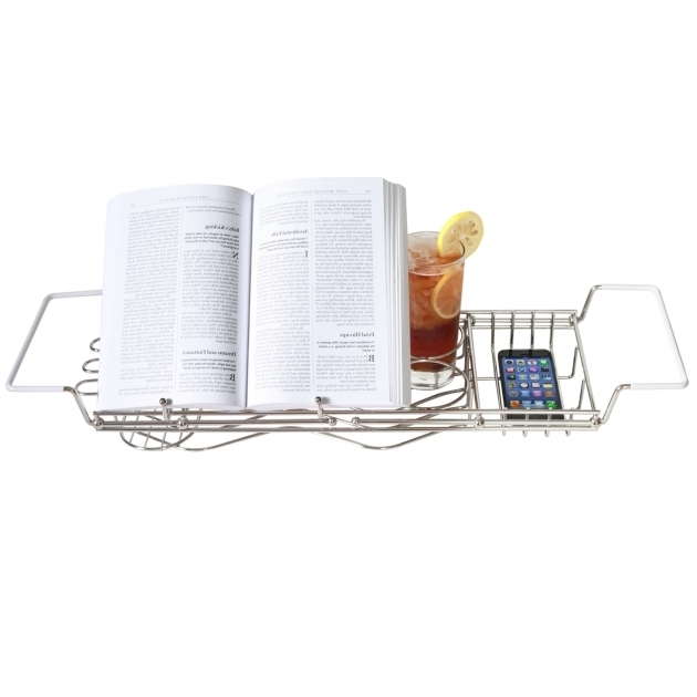 Marvelous Bathtub Book Holder Stainless Steel Bathtub Caddy With Perfect Organizer
