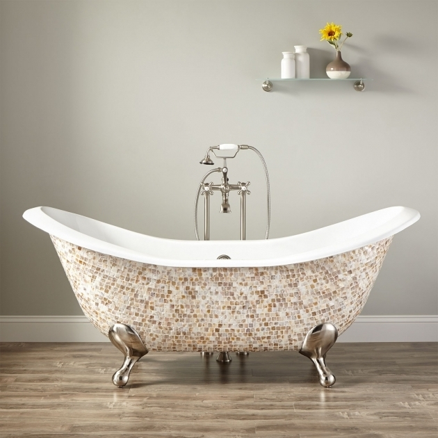 Picture of Clawfoot Tub Feet Parts 71 Bellbrook Cast Iron Double Slipper Mosaic Clawfoot Tub