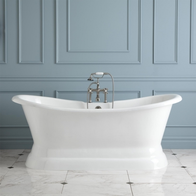 Stylish Double Slipper Clawfoot Tub 72 Langly Cast Iron Double Slipper Pedestal Tub Bathroom