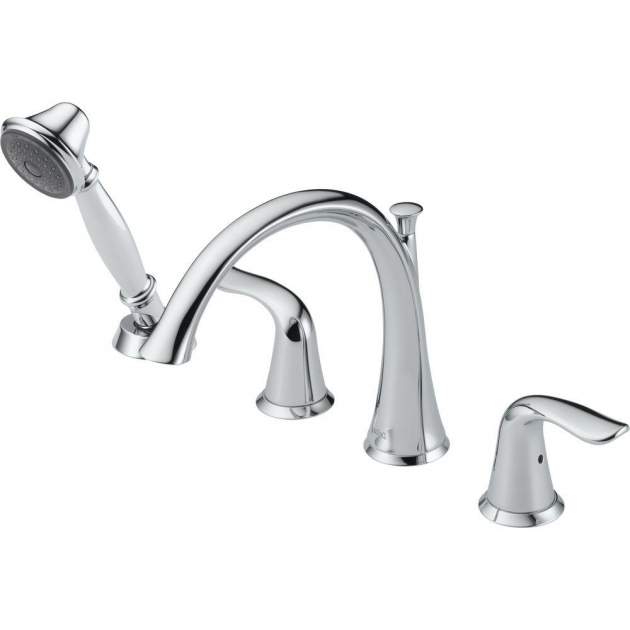 Alluring Bathtub Faucet With Handheld Shower Delta Lahara 2 Handle Deck Mount Roman Tub Faucet With Hand Shower
