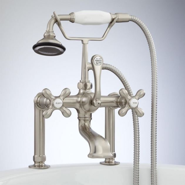 Fantastic Clawfoot Tub Fixtures Deck Mount Telephone Faucet With Cross Handles And Deck Couplers