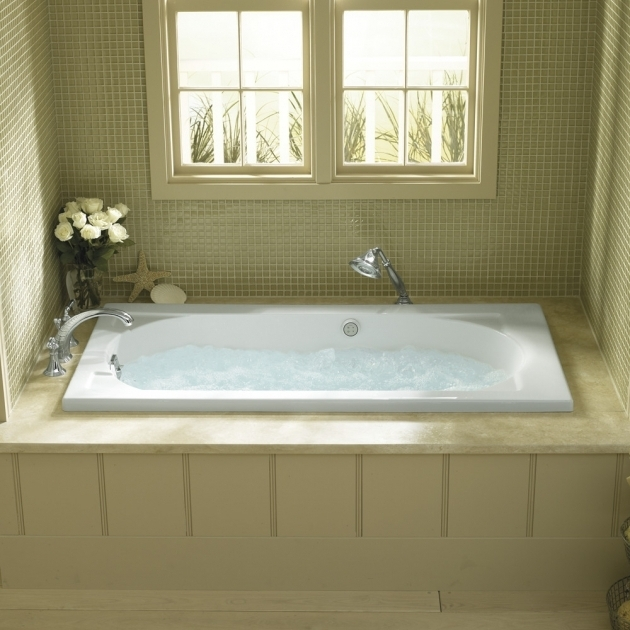 Picture of Alcove Soaking Tub Kohler Archer Biscuit Acrylic Rectangular Alcove Bathtub With