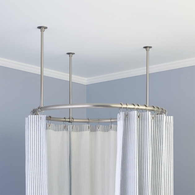 Picture of Ceiling Mount Shower Curtain Rod Clawfoot Tub 32 Round Solid Brass Shower Curtain Rod Clawfoot Shower Rods