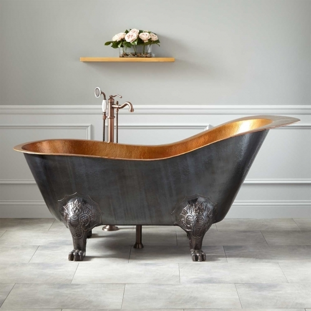 Alluring Copper Clawfoot Tub 72 Mcquire Hammered Copper Slipper Clawfoot Tub With Bright