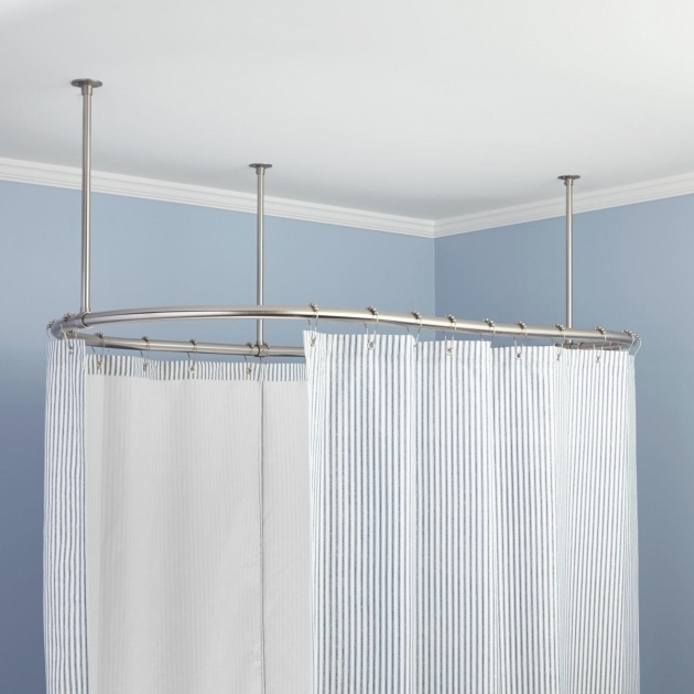 Stylish Shower Curtains For Clawfoot Tub Oval Solid Brass Shower Curtain Rod Bathroom