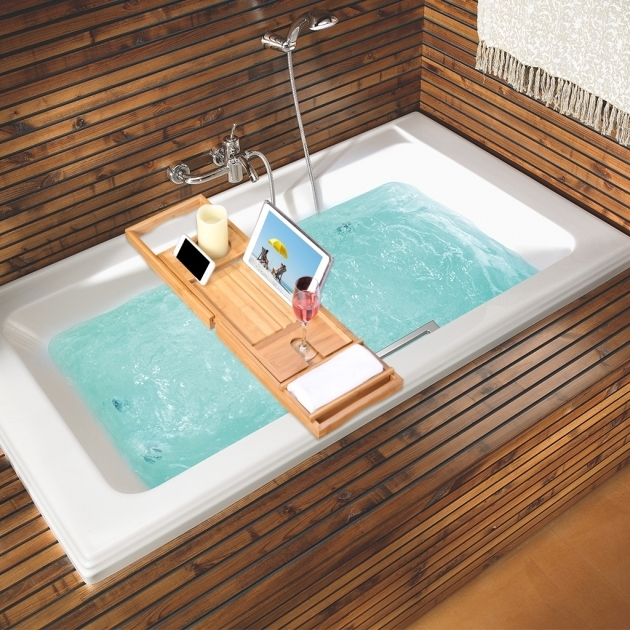 Awesome Bathtub Book Holder Bamboo Bathtub Caddy Tray Tub Bath Organizer Waterproof Non Slip