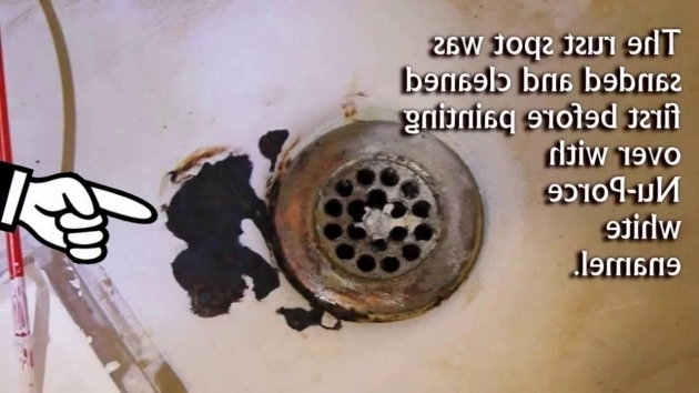 Image of How To Remove Rust From Bathtub Fix Bath Tub Rust Spots With Waterproof Ceramic Paint Youtube