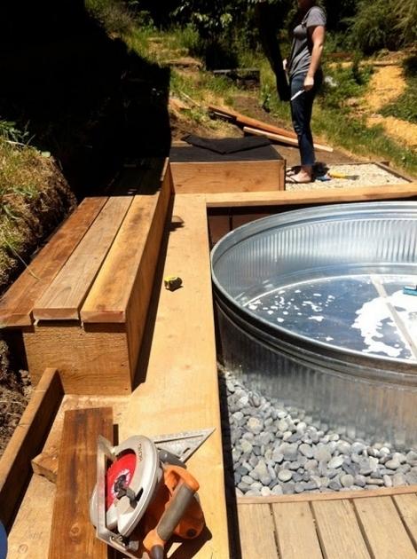 Incredible Galvanized Soaking Tub Livestock Tank Turned Diy Pool Youtube