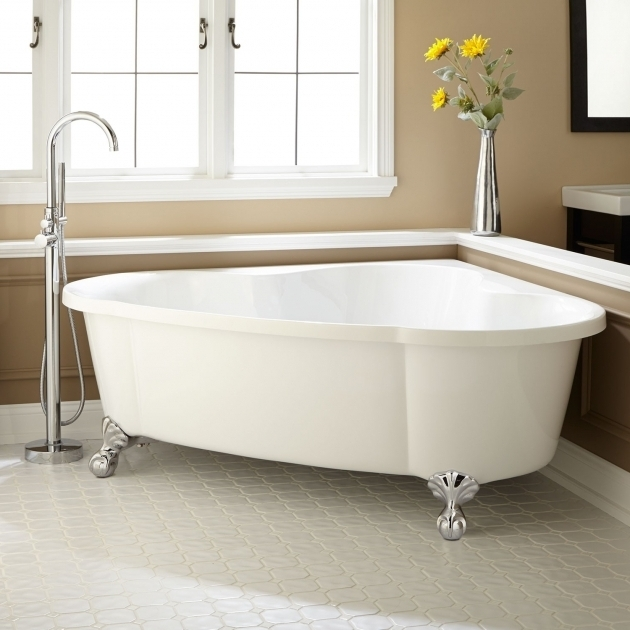 Inspiring Clawfoot Tub Dimensions 70 Talia Corner Acrylic Tub Ball Feet Bathroom