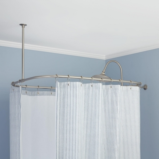 Wonderful Shower Rod For Clawfoot Tub Rectangular Solid Brass Shower Curtain Rod Shower Curtain Rods