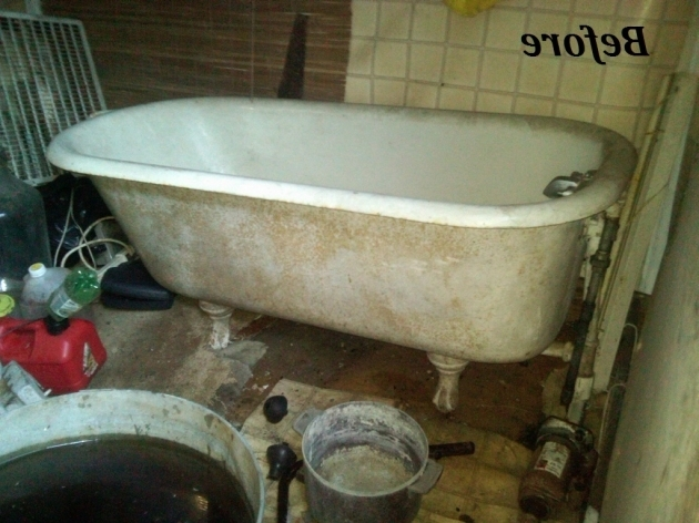 Amazing How To Refinish A Clawfoot Tub Refinishing The Porcelain Tub Sinks The Bottle That Fixed