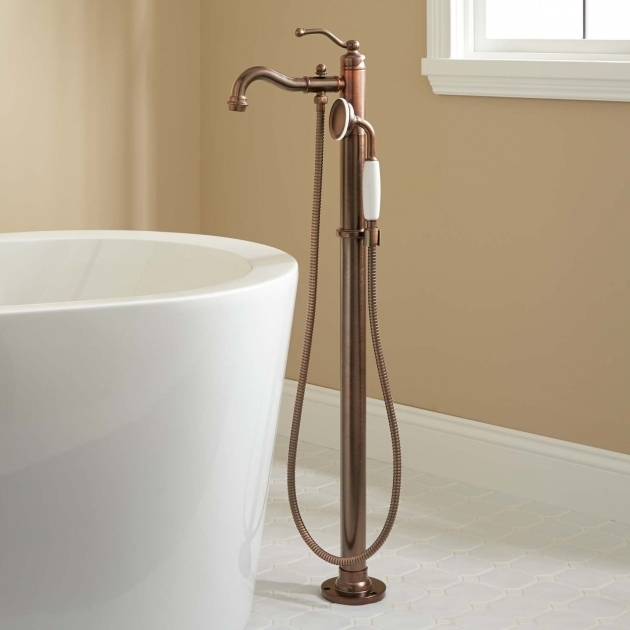 Image of Clawfoot Tub Faucet Floor Mount Leta Freestanding Tub Faucet With Hand Shower Bathroom