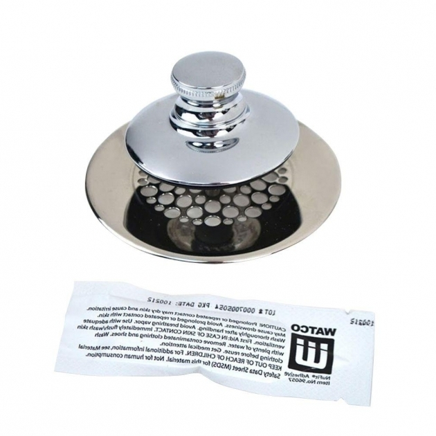 Picture of Bathtub Hair Stopper Watco Universal Nufit Push Pull Bathtub Stopper Grid Strainer And